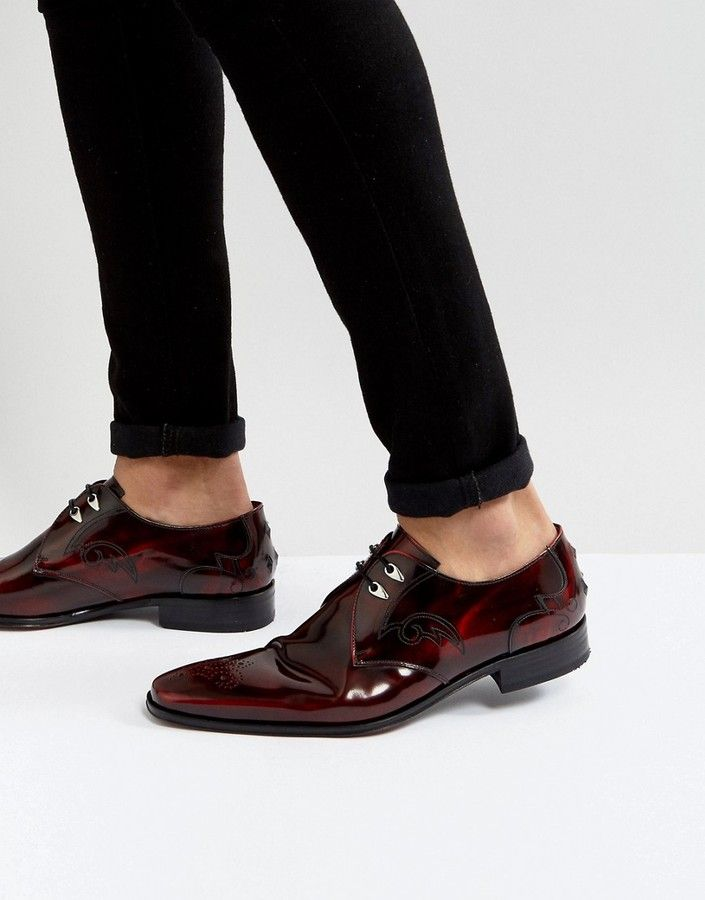 Jeffery West Scarface Lace Up Shoes In Red
