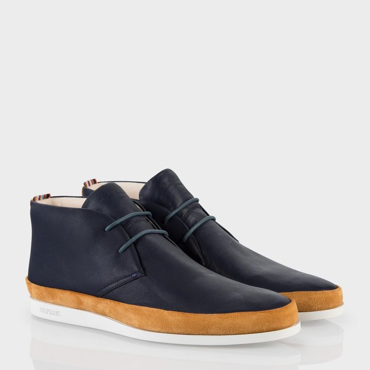 Paul Smith Men's Shoes   Navy Leather Loomis Chukka Boots