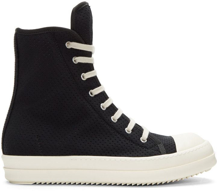 Rick Owens Drkshdw Black Perforated High-Top Sneakers