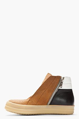 RICK OWENS Tan colorblocked Island Dunk shoes