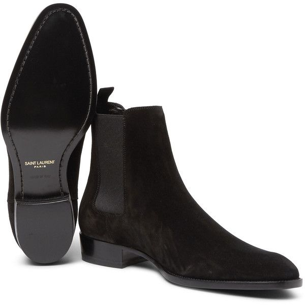 Saint Laurent Suede Chelsea Boots ($895) ❤ liked on Polyvore featuring men&#39...