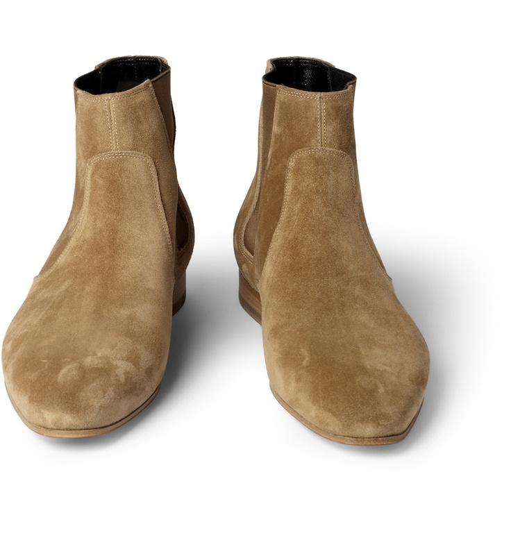 Saint Laurent Suede Chelsea Boots   MR PORTER
