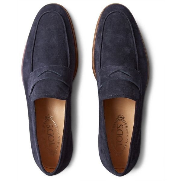 Tod's Suede Penny Loafers ($625) ❤ liked on Polyvore featuring mens, men&#...
