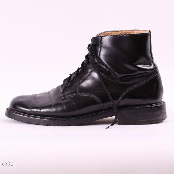 Vintage Men Boots / Black Leather Ankle Boots / eur 42,5 , us 9, uk 8.5
