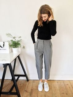 cropped tailored trousers, roll neck jumper, converse white...