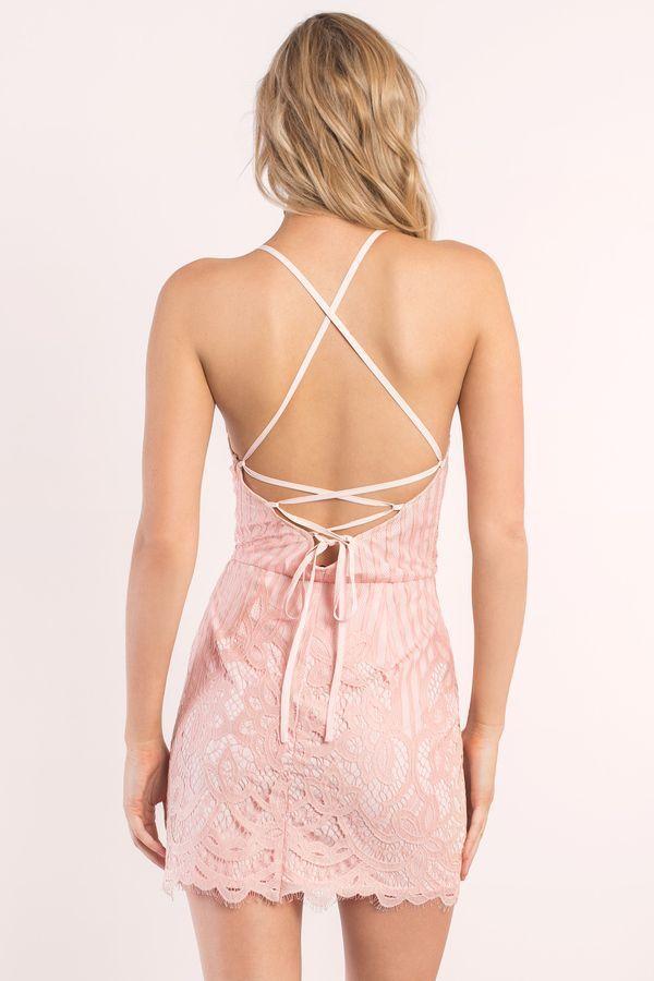 Lena Scallop Stripe Lace Bodycon Dress