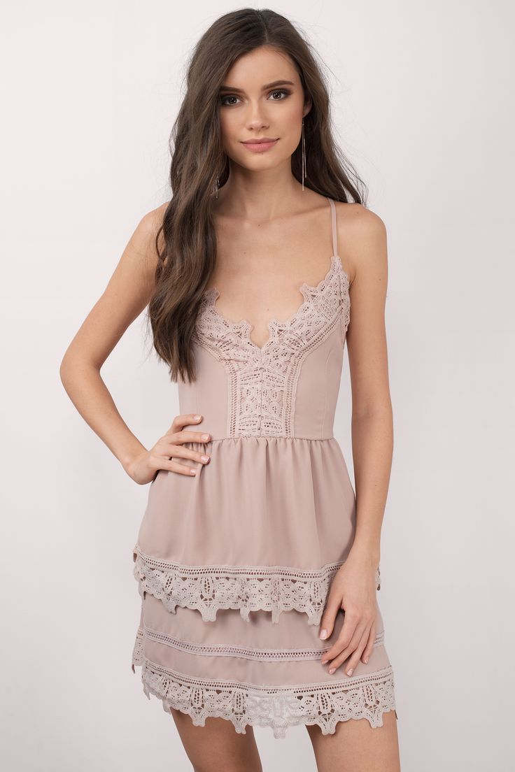 "ec58b58fb6d498 Search ""Truly Yours Rose Skater Dress"" on Tobi.com! crochet trim cami  plunging sweetheart neckline v neck plunge tiered ruffle full skirt fit and  flare boho ..."