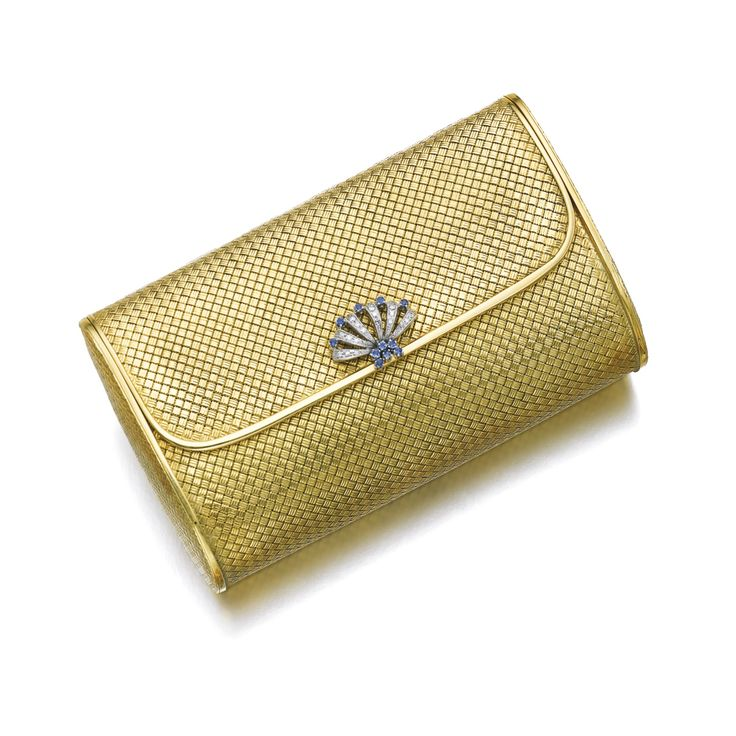 Gold, sapphire and diamond evening bag, Gübelin Composed of basket woven gold, ...