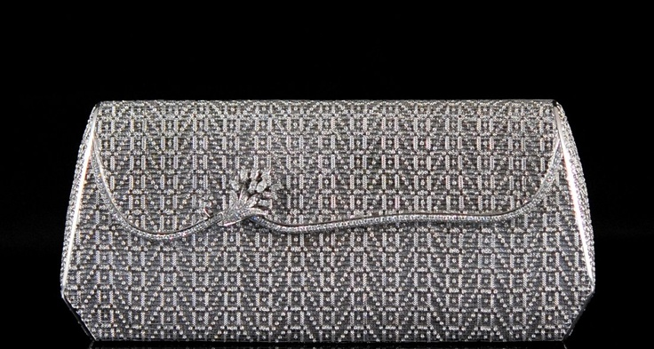 Solid 18k White Gold And Diamond Evening Bag The bag opens via a push latch in t...