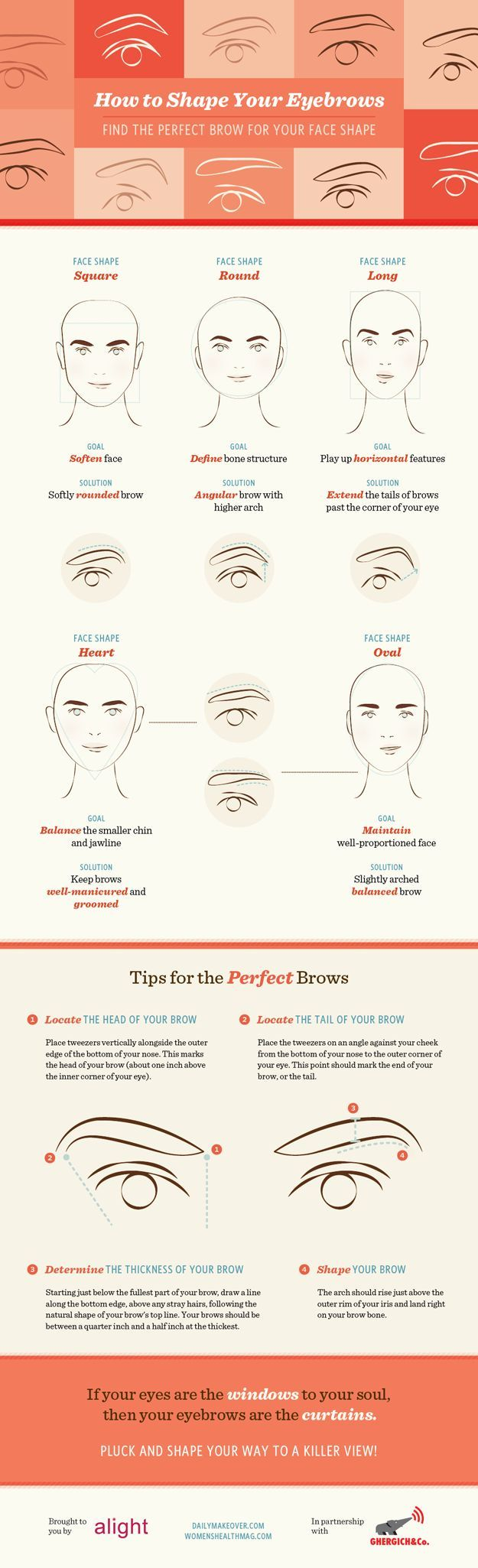 Eyebrow Tutorial: Finding The Right Brow Shape For Your Face | Beauty Tips And T...