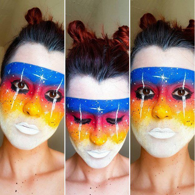 White Base Galaxy Makeup Idea | Creative DIY Makeup Ideas You Can Try for your n...