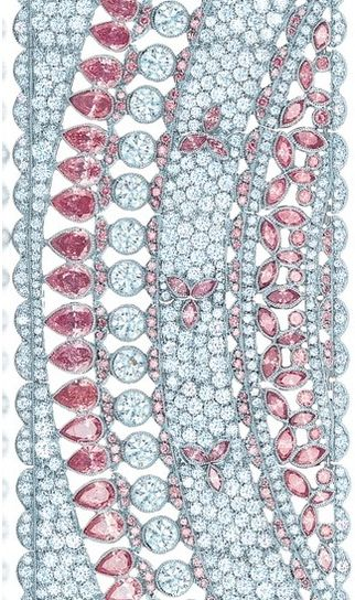 Detail: diamond and pink diamond scroll bracelet in platinum. From the 2013 Tiff...