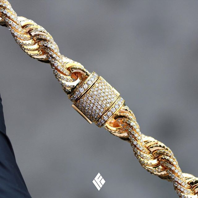 Solid 14K Yellow Gold 10mm Rope Chain Fully Iced Out With White Diamonds. Custom...