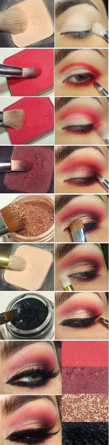 Sexy Red Eyeshadow Tutorial For Beginners   12 Colorful Eyeshadow Tutorials For ...