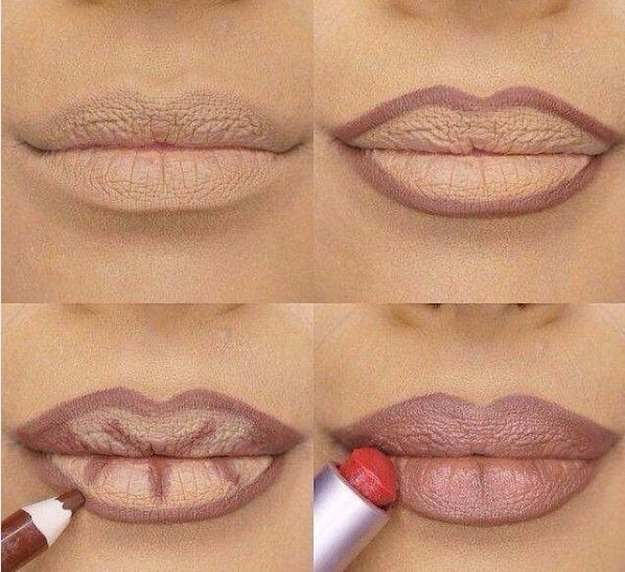 Use A Dark Pencil To Contour Your Lips First   Genius Instagram Beauty Hacks You...