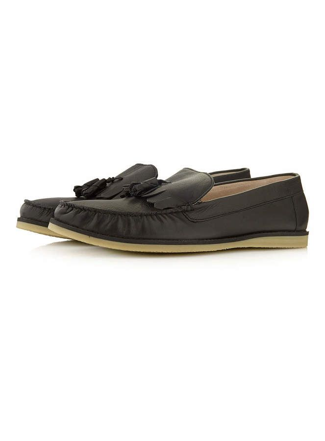 $90, Black Leather Tassel Slippers by Topman. Sold by Topman. Click for more inf...