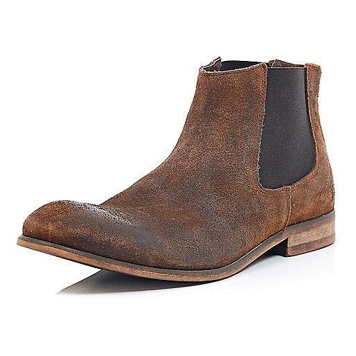 Brown worn suede Chelsea boots - chelsea boots - shoes / boots - men