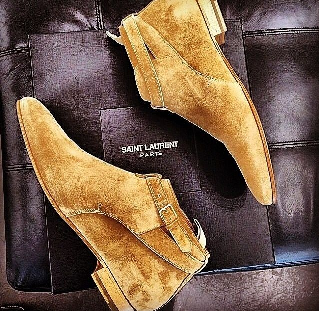 Butterscotch Suede Chelsea Boots, by Saint Laurent, Men's Spring Summer Fash...
