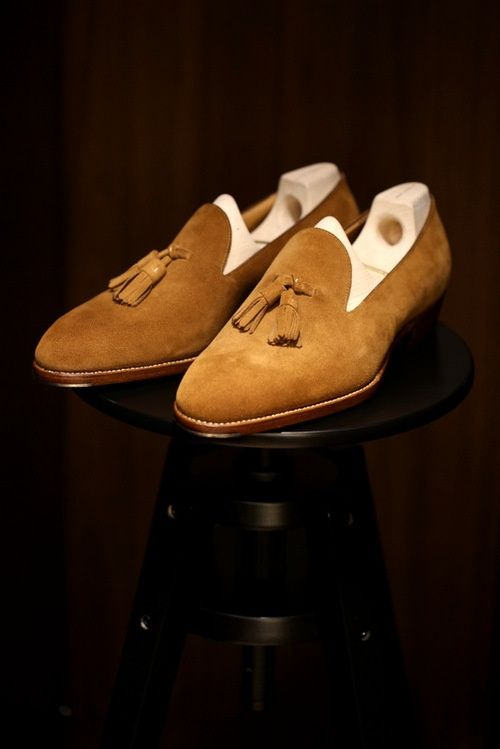 Camel Suede Tassel Loafer Shoes for Men | Click on image to visit www.pooz.com
