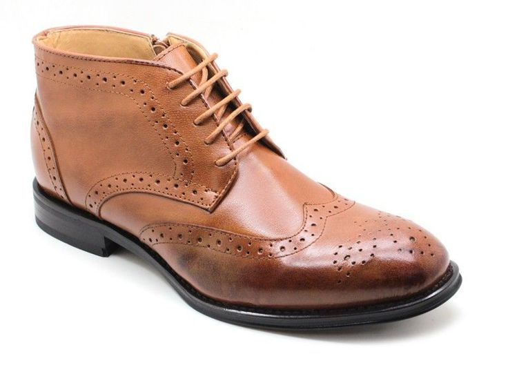 Men's Ankle Genuine Leather Wing-Tip Lace-Up Casual / Dress Shoes Tan - 11 M...
