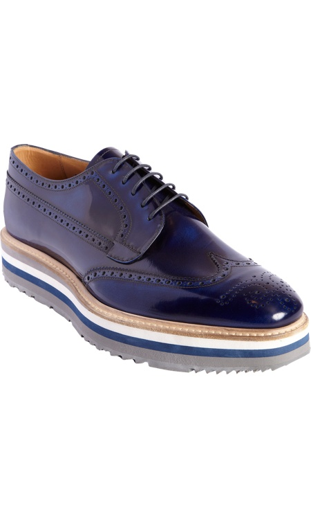 Prada Stacked Sole Perforated Wingtip Blucher
