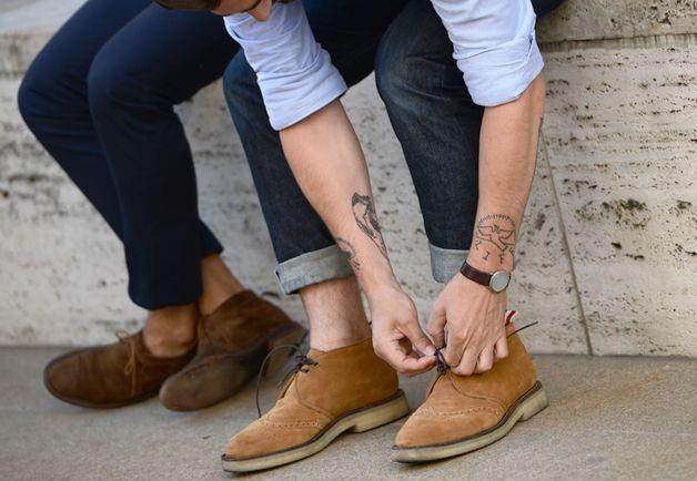 Shop this look on Lookastic: lookastic.com/... — Tan Suede Desert Boots — Li...