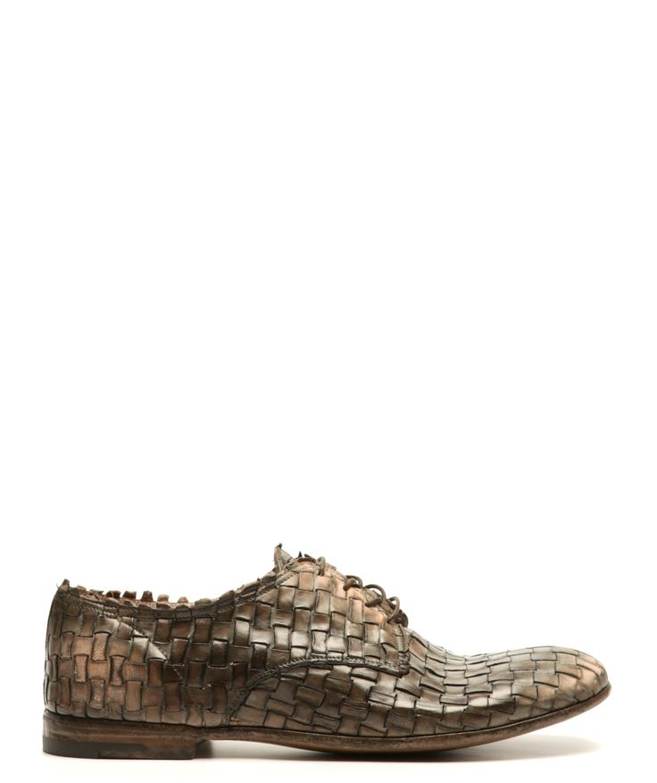 Washed green moss color leather lace-up shoe from Premiata. Featuring an intrica...