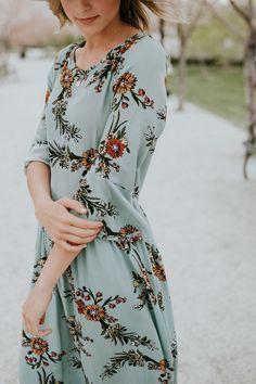Light Blue Floral Dress | ROOLEE