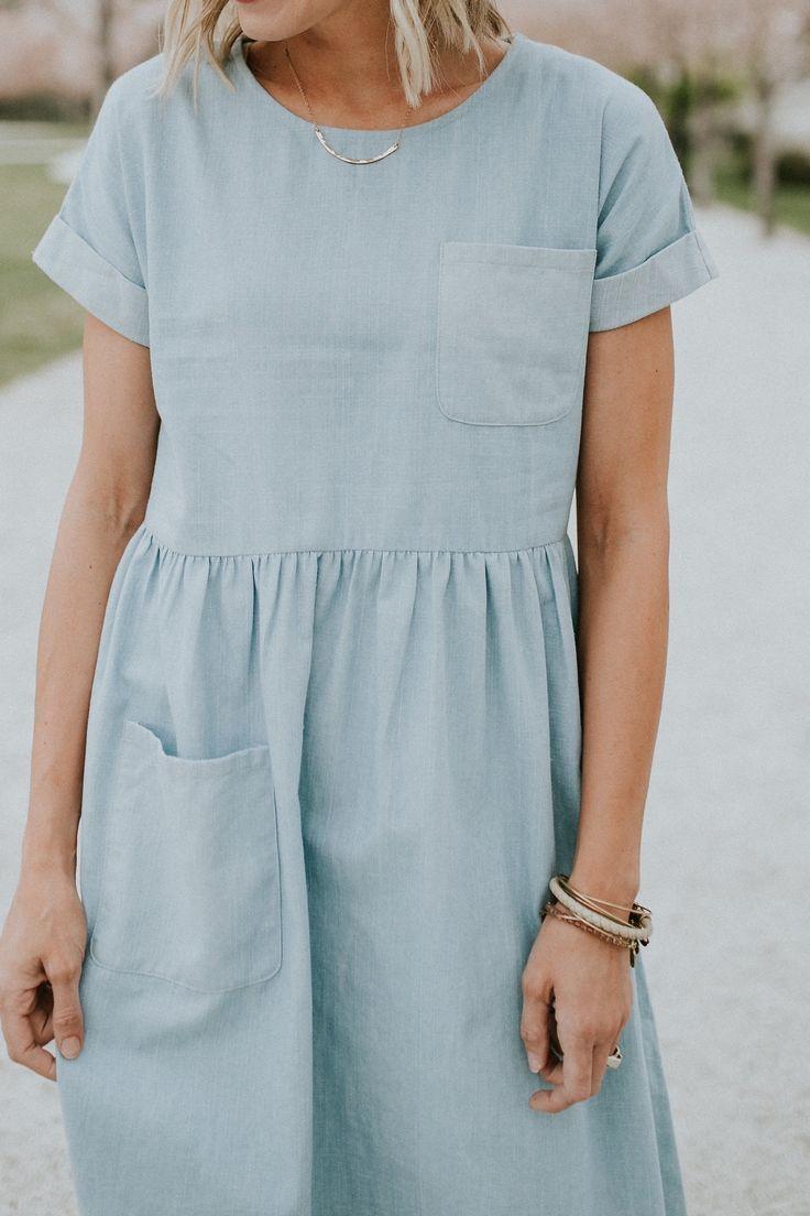 light denim pocket dress coming soon | ROOLEE...