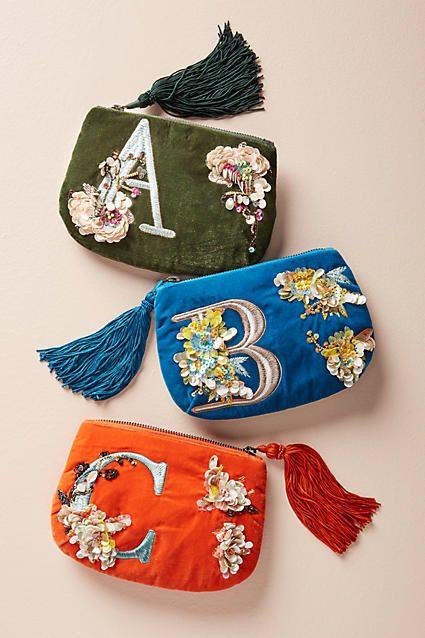 Anthropologie Flowering Monogram Pouch #ad