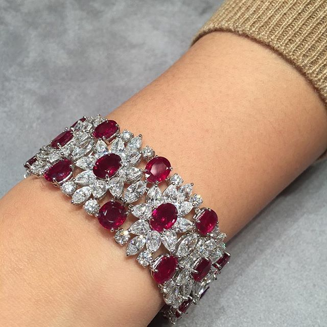 Adoring this elegant Burmese unheated ruby and diamond bracelet, by #HarryWinsto...