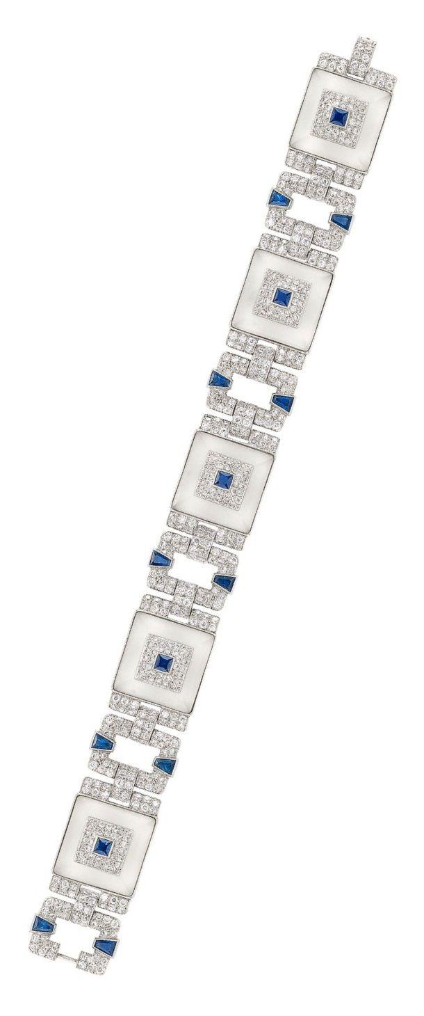 Art Deco Diamond, Sapphire and Crystal Bracelet