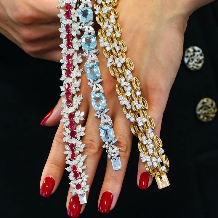 Trio of stunning bracelets from the upcoming Important Jewels Auction. Get your ...
