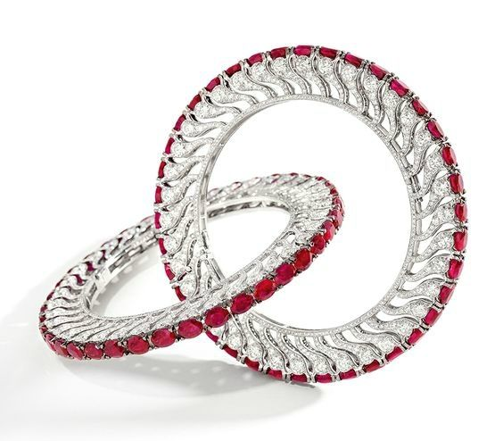 Unique Pair of Ruby and Diamond Bangles, BHAGAT
