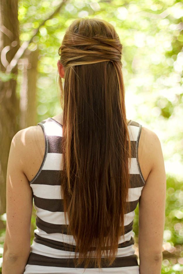 Criss-cross Half-Up Half-Down   20 Hairstyles for Work   Quick and Easy Hairstyl...