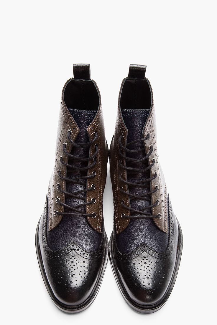 Black Tricolor Leather Wingtip Brogue Boots