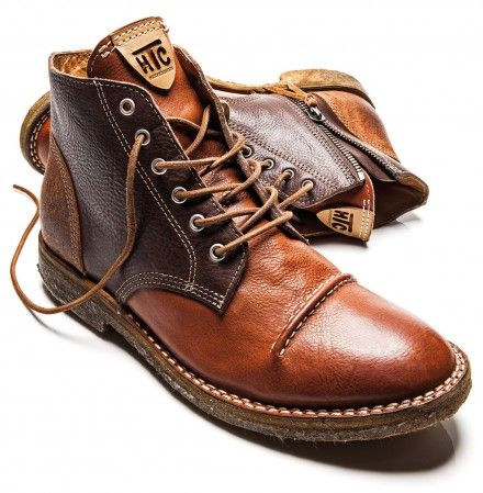 Brown & Caramel Leather & Suede Desert Boot with Spats. Hollywood Trading Compan...
