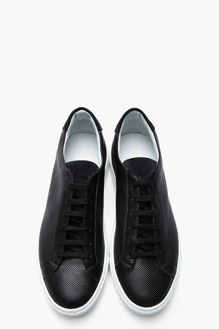 COMMON PROJECTS Black Perforated Leather Summer Sneakers