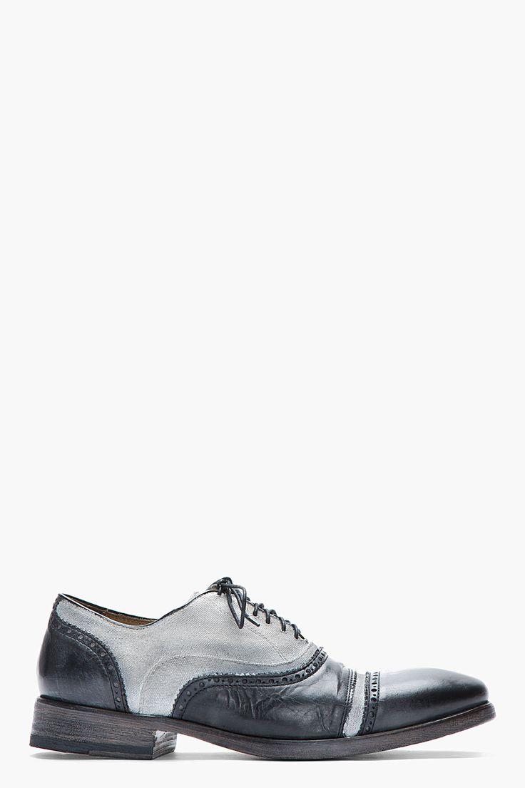 JOHN VARVATOS Grey Leather Canvas Fleetwood Quarter Brogues