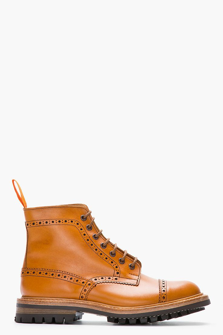 JUNYA WATANABE // TAN LEATHER QUARTER BROGUE SUPER BOOTS 31253M047002 High top l...