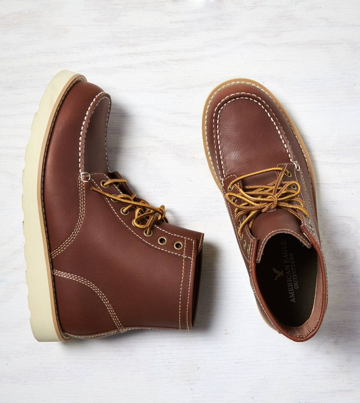 Medium Brown AEO Leather Lace-Up Boot. Show us your #AEOSTYLE on Instagram or Tw...