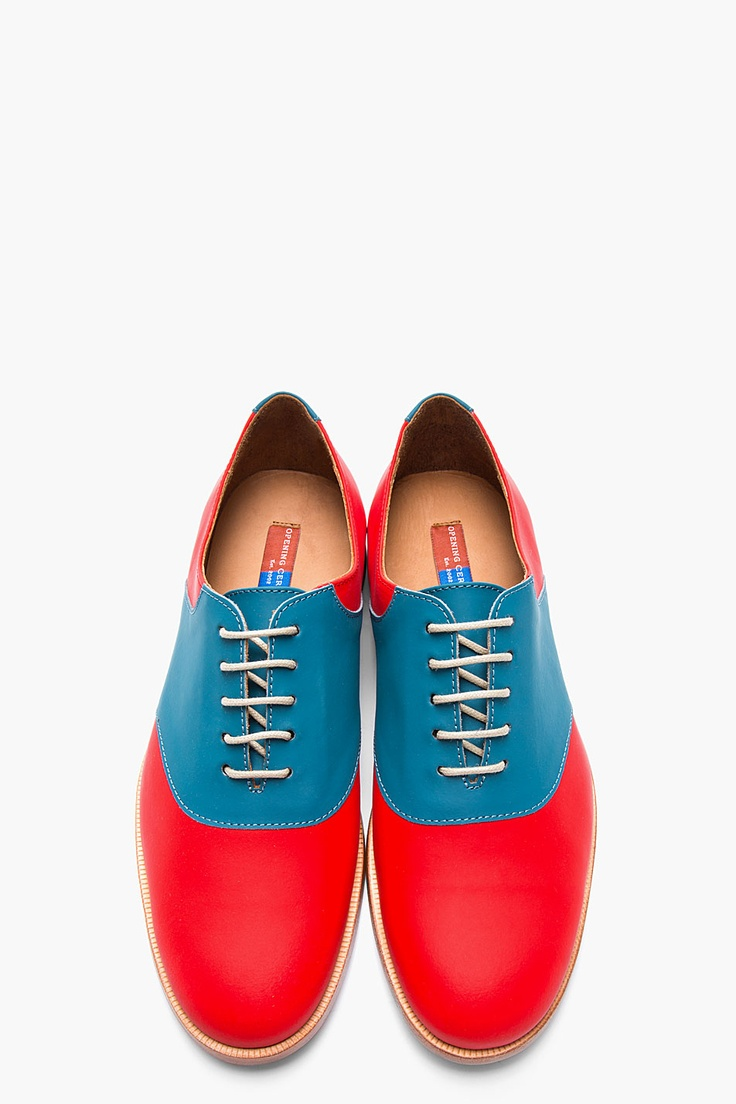 OPENING CEREMONY Red & Blue Rubberized Leather Oxfords