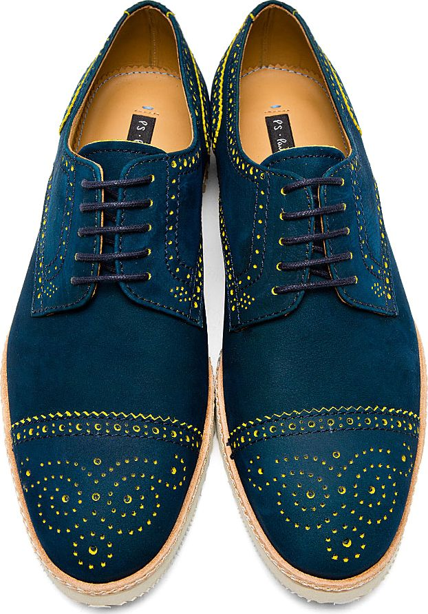 PS by Paul Smith - Blue & Yellow Nubuck Mcroy Brogues | SSENSE