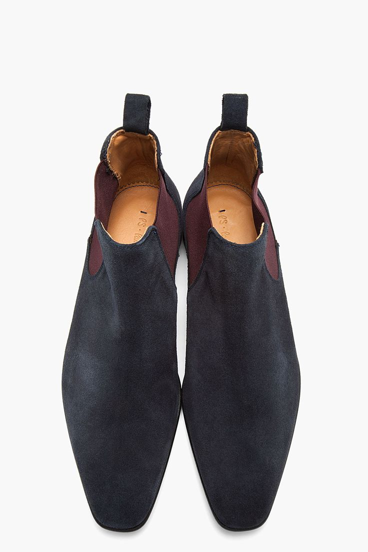PS PAUL SMITH Navy and purple Falconer Oceano suede boots