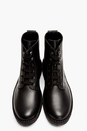SURFACE TO AIR Black Leather Crepe Sole Lace-Up Boots