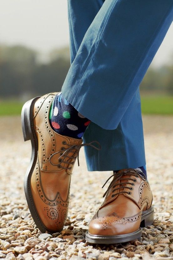 Tan Brogues and spotted socks? who knew it would work so well.