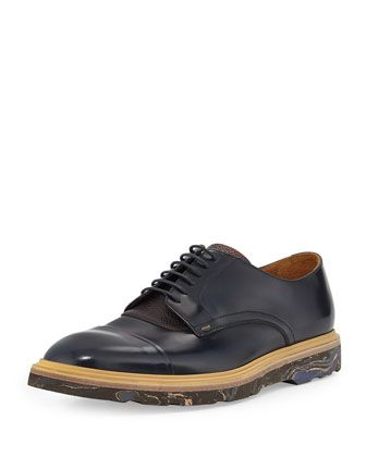 Paul Smith Thom Marble-Sole Cap-Toe Oxford, Navy