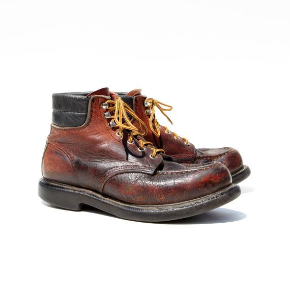 Vintage Red Wings: Distressed Brown Leather Logger Boots. Made in USA by Red Wing. Size - Mens VTG 7 D