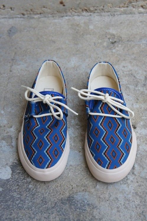 #YMC Navajo style printed canvas lace up shoe with rubber sole