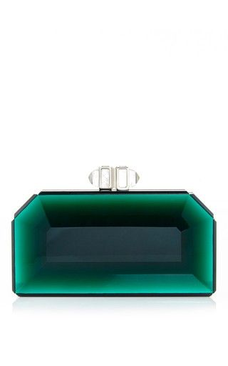 Green faceted rectangle speccio clutch by JUDITH LEIBER Preorder Now on Moda Ope...